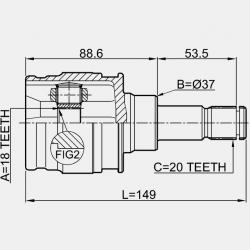 CAP PLANETARA AXA SPATE, LA INTERIOR 18X37X20 - TOYOTA RAV4 (JPP) ACA3 ASA3 GSA3 (US) 2005 - 2012